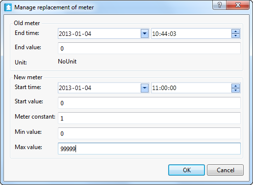 Manage replacement of meter dialog box where you enter the values of the new and old meter.