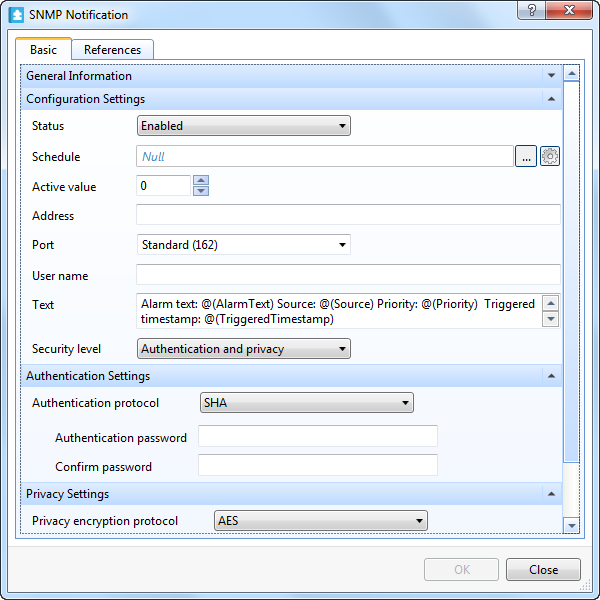 SNMP Notification Properties