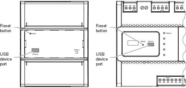 Location of reset button and USB device port on different SmartStruxure server device models