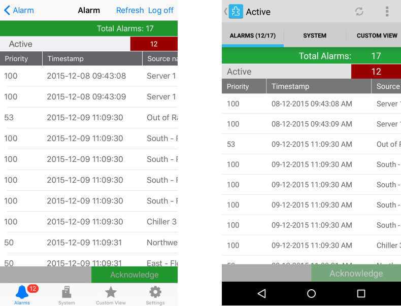 Active Alarms in iOS and Android